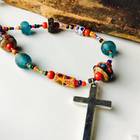 African Style Necklace, Bohemian Necklace, Colorful Necklace, Cross Necklace, African Trade Beads, Matte Blue Glass, African Christmas Beads