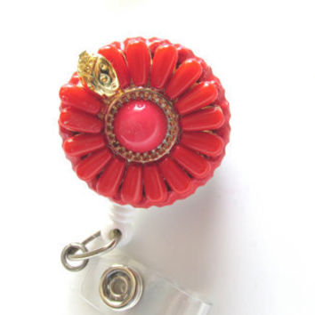Orange Flower Badge Reel, Retractable Badge Reel