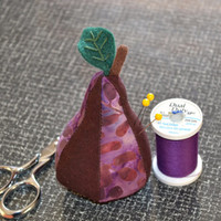 Pincushion, Pear Pin Cushion, Fabric, Sewing, Quilting, Embroidery, needle, Felt Leaf, purple, RUM RAISIN