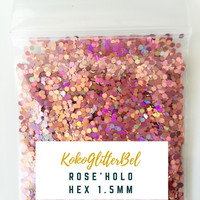 Holographic Glitter Hex- Rose 1.5mm