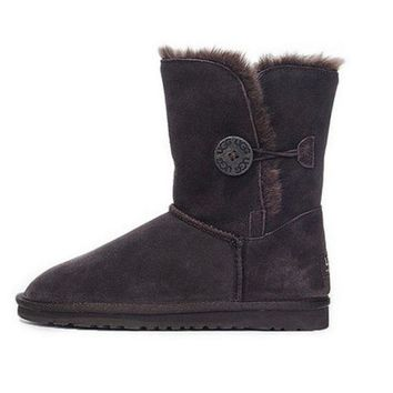 DCCK8X2 UGG' Women Fashion Wool Snow Boots Calfskin Shoes Dark coffee