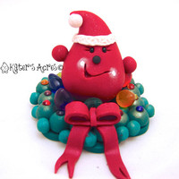 SANTA Parker in a Wreath StoryBook Scene - Twelve Days of Christmas Polymer Clay Character Sculpted Figurine