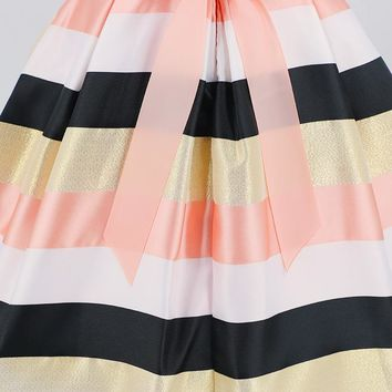 Girl Pastel Striped Party Dress