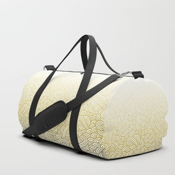 Gradient yellow and white swirls doodles Duffle Bag by Savousepate