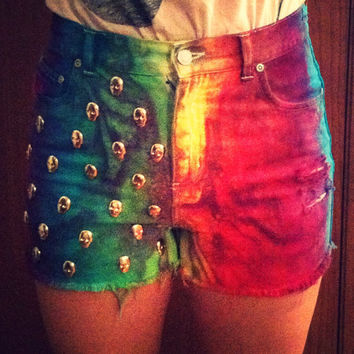Rainbow Tie Dye High Waisted Shorts with Skull Studs