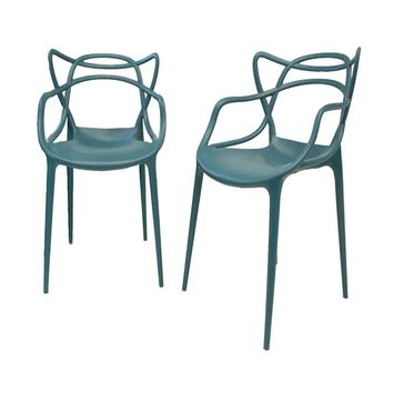 Gabriel Teal Blue Stackable Accent Chair (Set of 2) | Overstock.com Shopping - The Best Deals on Dining Chairs
