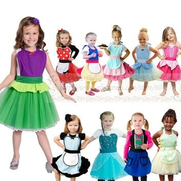 Alice in Wonderland Anna Elsa Princess Costume Tutu apron for girls fun for special occasion birthday party dress up costume