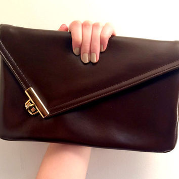 1980s Chocolate Brown Asymmetrical Envelope Clutch With Mirror