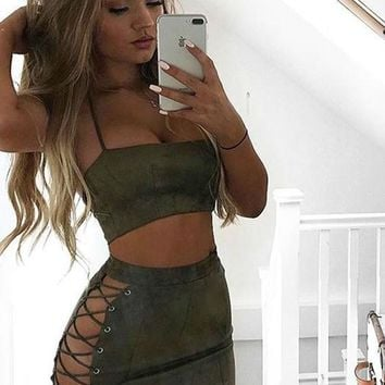 Streetstyle  Casual Army Green 2-in-1 Bandeau Halter Neck Backless Mini Dress