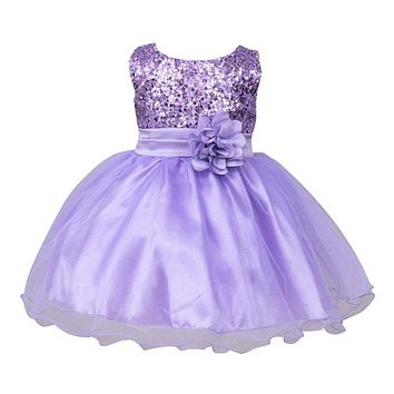 2017 Infant Baby Girls Mesh Formal Sleeveless Bling Sashes Flower Party Princess Dresses