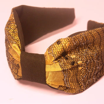 Vintage fabric headband. Fabric Alice band. Knotted headband. Turban style headband. Gold, Silver and Black headband. Boho hair accessory.