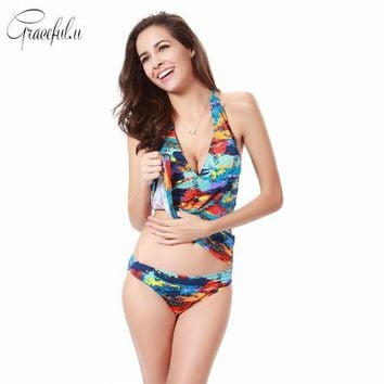 VONETDQ Plus Size Women Printed Two-piece Swimsuit Sexy Tankinis Bathing Suit Summer Beach Swimwear With Chest Pad