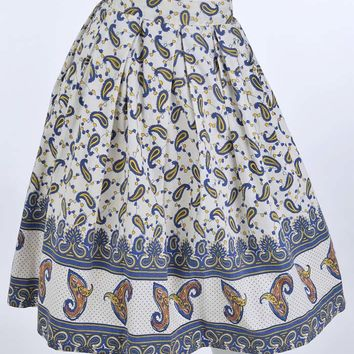 60's Paisley Border Print Full Swing Skirt-M
