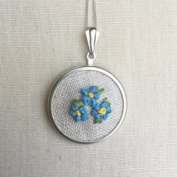 Silk Ribbon Embroidery Embroidered Necklace Blue Forget Me Not Flower Pendant or Brooch