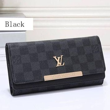 "LV ""Louis Vuitton"" Stylish Women Print Leather Buckle Wallet Purse Black I"