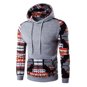 New Men Patchwork Pullover Hoodie Sweatshirt Ethnic Tribal Hooded Jumper Outwear