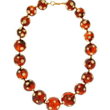 Valentino Vintage Rhinestone Encrusted Root Beer Lucite Bauble Necklace