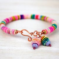 Copper-Fiber-Bead - Yarn Bracelet