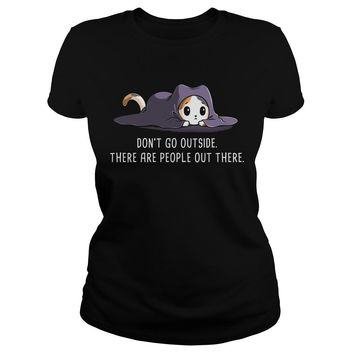 Fox Don't go outside there are people out there Premium Fitted Ladies Tee