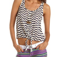 STRIPED TIE-FRONT TANK