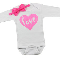 Valentines Day Onesuits | Pink LOVE in Sparkly heart with bubblegum pink sequin bow | Baby Girls 1st Valentines day set