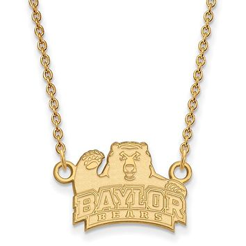 NCAA 14k Gold Plated Silver Baylor U Small Bear Pendant Necklace