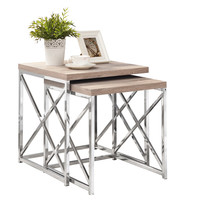 Natural Reclaimed-Look / Chrome Metal 2Pcs Nesting Tables