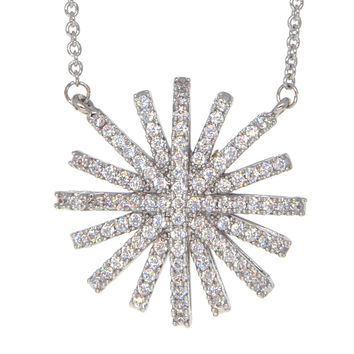 Dear Deer White Gold Plated Floral CZ Pendant Necklace