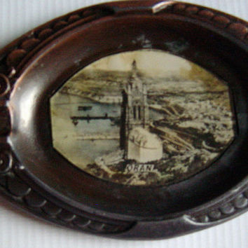 French Souvenir Metal Ashtray Oran France Circa 1900s Art Nouveau