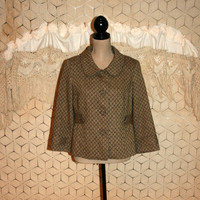 Brown Tweed Coat 3/4 Sleeve Swing Coat Wool Fall Jacket Short Coat Tweed Jacket Ann Taylor Size 10 Size 12 Medium Large Womens Clothing