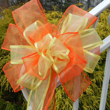 Yellow and Tangerine / orange Wedding/ Pew Bows set of 6 Colors can be mixed and matched