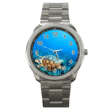 Blue Water Sea Turtle Sport Metal Watch