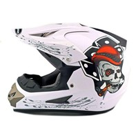 Motorcycle Motor Bike Scooter Safety Helmet white skull