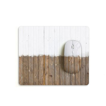 White brown wood pattern mouse with matching mouse pad S009