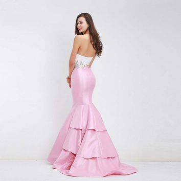 Elegant Mermaid Evening Dresses Appliques Backless Maxi Long Dress Simple Prom Party Gown