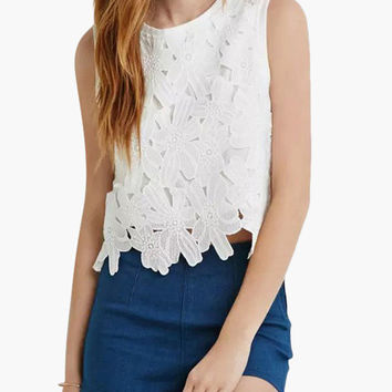White Floral Lace Sleeveless Back Zip Top