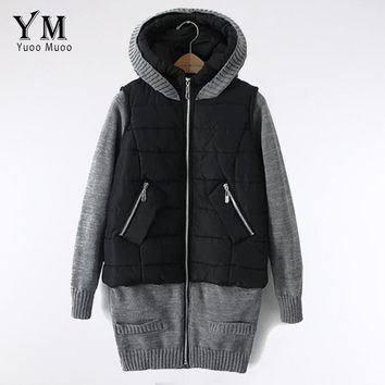 YuooMuoo Brand Winter Autumn Women Jacket Outwear Women Slim Casual Parka Knitted Sleeve Patchwork Coat Lady Parka Overcoat