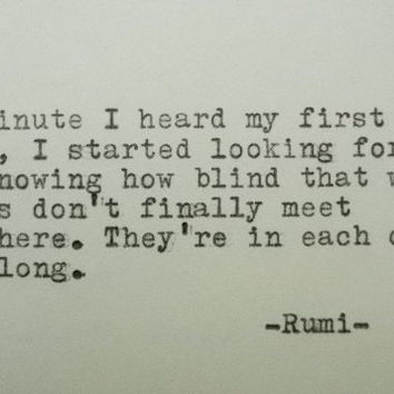 Rumi Love Quote Hand Typed Typewriter From Poetry Boutique