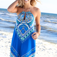 Can't Touch This Mixed Print Halter Maxi Dress
