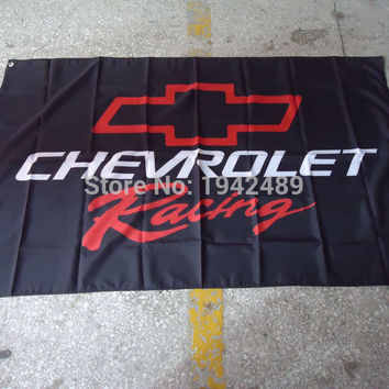 Free shipping 100D Chevrolet racing black flag rally car racing supplies, 90X150CM, digital printing, custom banner