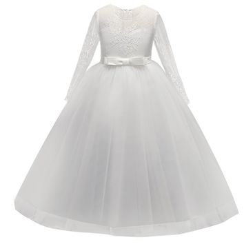 Flower Girl Dresses for Wedding Pageant White First Holy Lace Communion Dress for Girls Toddler Junior Child Dress