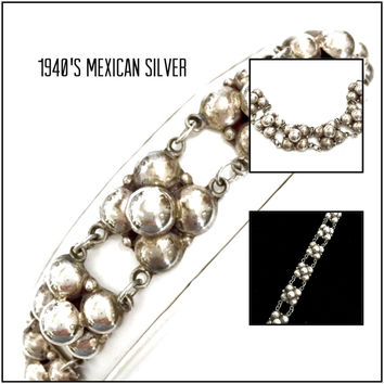 Mexican Sterling Silver Bracelet, Traditional Six Links of Five Domes or Bubbles, 1940's