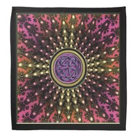 Celtic Knot Purple Gold Fractal Mandala Bandana