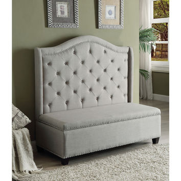 Fairly Beige Fabric/Rubberwood Storage Settee | Overstock.com Shopping - The Best Deals on Benches