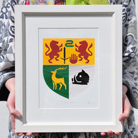 Hand Painted Family Crest / Coat of Arms