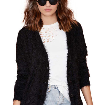 Black Long Sleeve Mohair Cardigan