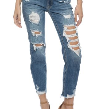 Just Black H/R Destroyed Relaxed Skinny Jean