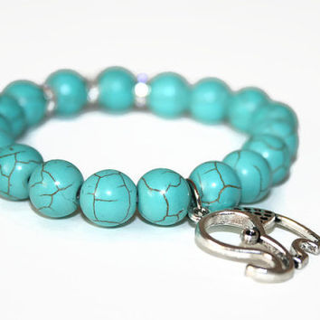 Turquoise Bracelet Elephant Charm Gemstone Jewelry Blue Bracelet Yoga Jewelry Healing Jewelry Meditation Gifts Stack Bracelet Prayer Beads