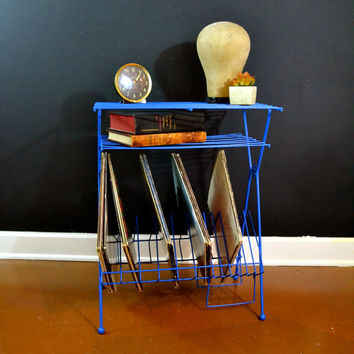 Bright Blue Metal Record Stand, Vintage Wire Shelf Record Storage, Record Player Stand, Mid Century Cart, Bar Cart