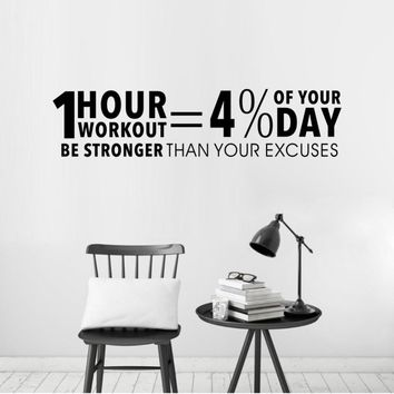 Workout Inspiring Quotes Decor Sticker Gym Vinyl Wall Decal Fitness Motivation Lettering Wall Art